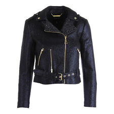 NWT JUICY COUTURE Black Coated Lurex Boucle Moto Jacket XL S $288