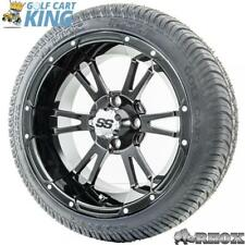 """14"""" RHOX SS RX341 Black Wheel and Low Profile Golf Cart Tire with Options Combo"""