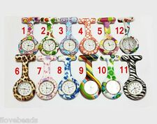 Nurses Watch Doctor Medical Brooch Tunic Fob Print Silicone Watch With Battery A