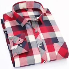 Mens Flannel Shirts Blue Red Plaid Cotton Long Sleeve Men's Shirt Casual Flannel
