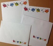 Colourful Dancing Owls letter writing paper & envelopes stationery  - Cute set