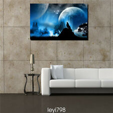 Oil Painting HD Print Wall Decor Art on Canvas Wolf in the moonlight 20x32in