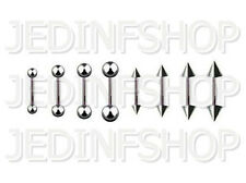 Straight Barbell Tongue Nipple Bar - 1.6mm (14g) - 12mm - Stainless Steel