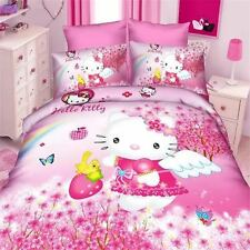 Hello Kitty Hearts Panel Duvet Cover Kids Bed Bedding Set New Gift Pink