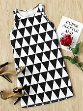 Contrast White Black Dress Geometric Print Tank Womens Print Top Sleeveless New