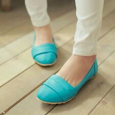 US Size 5-10.5 Womens Synthetic Leather Round Toe Ballet Flats Ballerinas Shoes