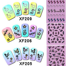 1 Sheet Fashion 3D Nail Art Sticker Nails Decal Butterfly Flower Rhinestones DIY