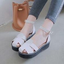 Womens Sandals Creeper Retro close Toe Platform wedge Heel Buckle Strap Shoes BP
