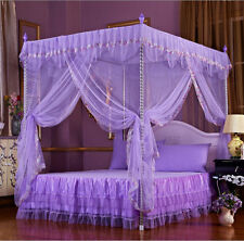 Purple 4 Corners Post Bed Canopy Mosquito Netting For Twin Full Queen Size