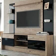 Entertainment Center Wall Unit Nature and Black Tan Color TV Stand Furniture New