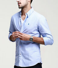 Nice!! Mens Slim Long Sleeve Button Front Casual Shirt 100% Cotton M L XL XXL