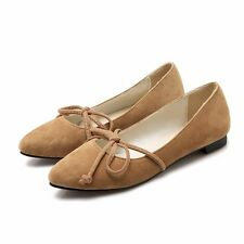 Womens Synthetic Suede Lace Up Bowknot Pointed Toe Flats Loafers Moccasins Shoes