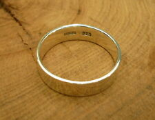 New 925 Sterling Silver Ring 6 mm Wide Plain Band Round Wedding Size 5 - 15 US.