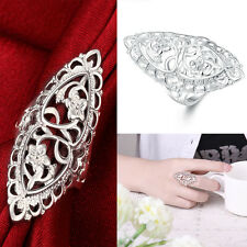 Women 925 Sterling Silver Plating Leave Shaped Ring Wedding Party Carving Ring