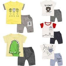 2PCS Baby Toddler Boy Outfits Kids Summer Clothes T-Shirt Tops+Short Pants 6M-4Y