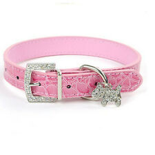 Dog Collar PU Leather Rhinestone Buckle adjustable Pet Collars With Tag Charm