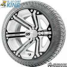 """14"""" RHOX SS White/Black Wheel and Low Profile Golf Cart Tire Combo Options"""