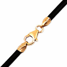 "3mm Black Round Leather Cord Necklace Choker 14K Gold Filled Clasp 34"" in NYC"
