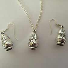FUNKY RETRO RUSSIAN DOLL EARRINGS NECKLACE SET SILVER PLATED HOOKS GIFT PRESENT