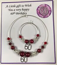 Wine, Champagne Bottle & Glass Charm 18 21 30 40 50 60  Birthday Gift Red