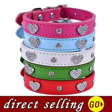 Dog Collars Rhinestone PU Leather adjustable pet Collar Leads puppy Neck Strap