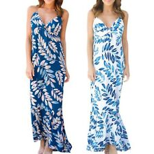 Summer Women's Floral Print Sleeveless Boho Evening Party Long Maxi Dress S-XL