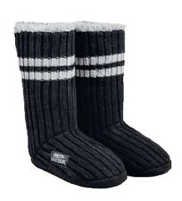 Harley-Davidson® Womens Black White Striped Knit Slippers Boots (5/6) 97798-17VW