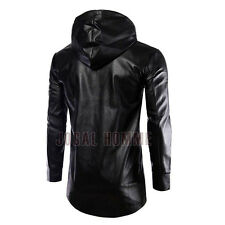 Fashion Mens Hooded Leather Outwear Biker Slim Fit Motorcycle Jacket Blazer Coat
