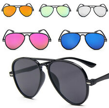 Fashion Mirror Lens Teardrop Aviator Sunglasses Black Frame Coloured Lens