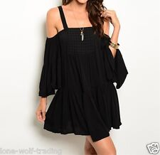"""Sexy Boho Peasant Gypsy """"Black"""" Off the ShoulderParty/Evening Dress-RT7-CN244498"""