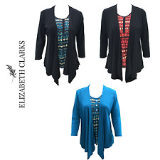 LADIES BLACK TWINSET WATERFALL CARDIGAN & TOP STRETCH SMART SUMMER SIZE 10 TO 22