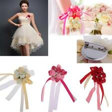 Wedding Groom Bride Boutonniere Corsage Flower Wrist Flower Brooch Pin Ribbon