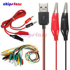 Double-ended Alligator Test Clips Cable to USB Male Hook Lead Banana Plug Probe