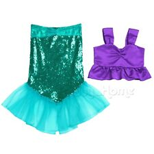 Kids Little Mermaid Tails Set Girl Princess Dress Party Cosplay Costume Outfits