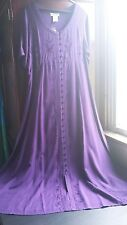 Women's Rayon Embroidery Dress Button Front Empire Waist Maxi- Purple or Sage