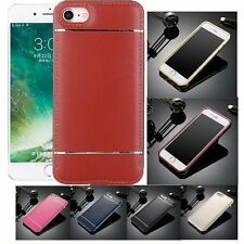 LUXURY Metal Bumper Frame Case&Leather Back Cover For iPhone 5 5S 6 6S 7 Plus