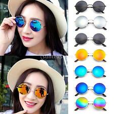 MagiDeal Round Frame Sunglasses Color Film Metal Reflective Sun Glasses Mirror