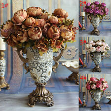Artificial Fake Leaf Flower Peony Floral Wedding Bridal Bouquet Party Home Decor