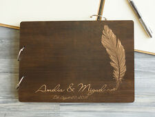 Wedding Guest Book Feather Personalized Wedding Book Custom Guest Book Wooden