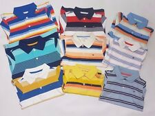 Tommy Hilfiger Boys Children Summer Striped Blue Red White Polo Tee Shirt
