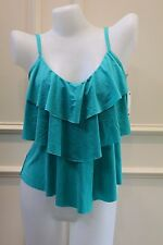 Kenneth Cole Teal Green Tiered Ruffle Shuffle Tankini Top NWT Medium Large