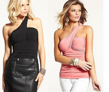 NEW WOMENS GUESS SLEEVELESS ONE SHOULDER SHIRRED SHIRT BLOUSE TOP PINK BLACK