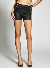 NEW WOMENS GUESS HIGH RISE SAILOR BUTTON SILICONE BLACK SHORTS 25 29 32