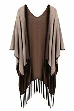 HOTOUCH Women Reversible Knitted Tassel Poncho Cape Shawl Cardigan Sweater Coat