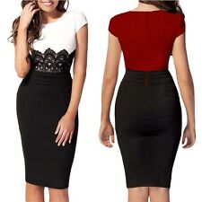 Womens knee Length Celeb Lace Contrast Evening Wedding Pencil Midi Bodycon Dress