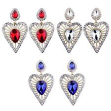 Fashion Jewelry Heart Stud Dangle Earrings with Crystal for Women Bridal Party