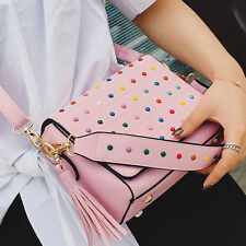 2017 Women PU Rivet Tassel Shoulder Elegant Crossbody Messenger Handbag Totes