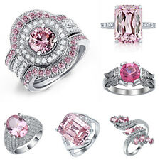 925 Silver Pink Sapphire Ring Women Jewelry Wedding Gift Engagement Size 6-10