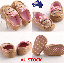 AU Newborn Baby Girl Bow Anti-slip Crib Shoes Soft Sole Flats Prewalker 0-18M