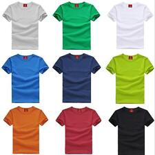 Men's Round Neck Tops Tee Shirt Slim Fit Short Sleeve Solid Color Casual T-Shirt